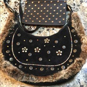 Black Suede Shoulder Purse Bag Fur Trim